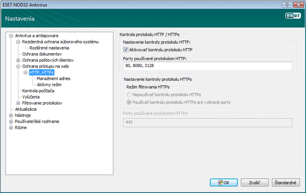 Nod32 ea config epfw scan http HTTP, HTTPs
