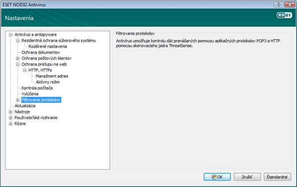 Nod32 ea config epfw scan main page Filtrovanie protokolov