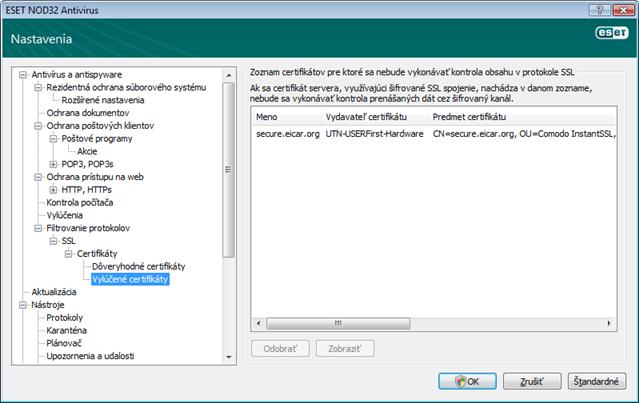 Nod32 ea config epfw ssl exclude Vylúčené certifikáty