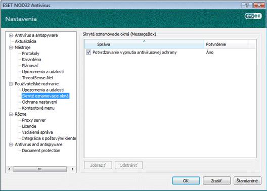 Nod32 ea config hidden message Skryté oznamovacie okná