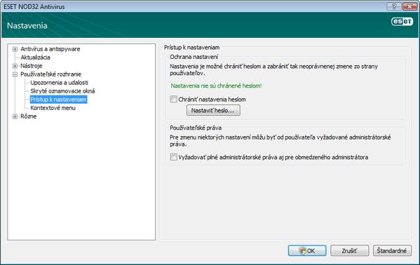 Nod32 ea config password Prístup k nastaveniam