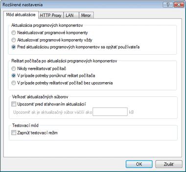 Nod32 ea config update mode Mód aktualizácie