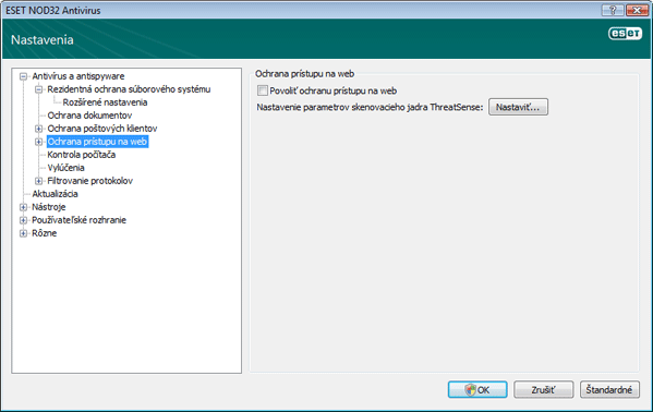 Nod32 ea config web Ochrana prístupu na web