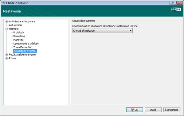 Nod32 ea config windows update Nastavenie aktualizácie operačného systému