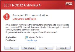Nod32 ea dialog epfw new certificate Kryptovaná SSL komunikácia