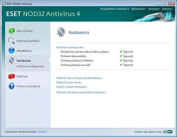 Nod32 ea page advanced settings Zoznámenie s užívateľským prostredím
