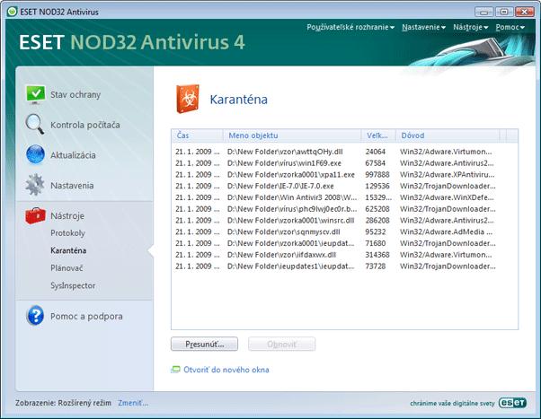 Nod32 ea page quarantine Karanténa