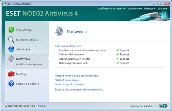 Nod32 ea page settings antivirus Nastavenia   rozšírený režim