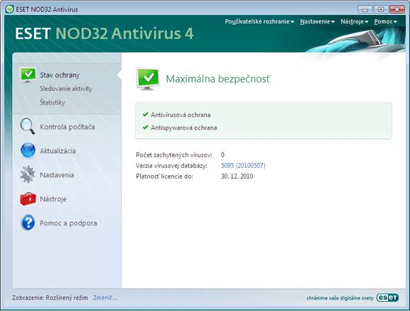 Nod32 ea page status Stav ochrany