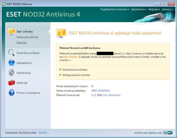 Nod32 ea page status 03 Stav ochrany