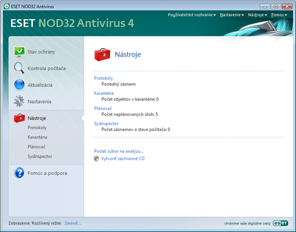 Nod32 ea page tools Nástroje