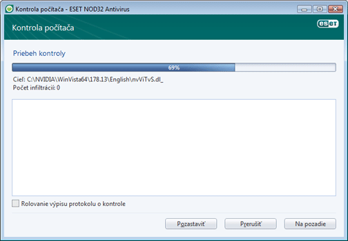 Nod32 ea scan window Kontrola počítača   okno