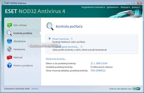 Nod32 ea scanner main Kontrola počítača