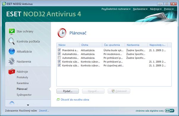 Nod32 ea scheduler info Nástroje   plánovač