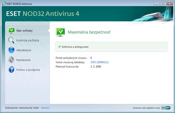 Nod32 ea simple mode Zoznámenie s užívateľským prostredím