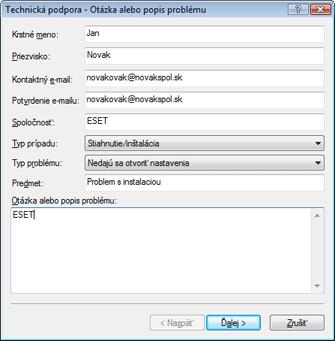 Nod32 ea support request Otázka alebo popis problému