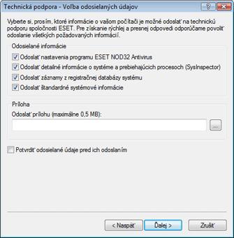 Nod32 ea support send Voľba odosielaných údajov