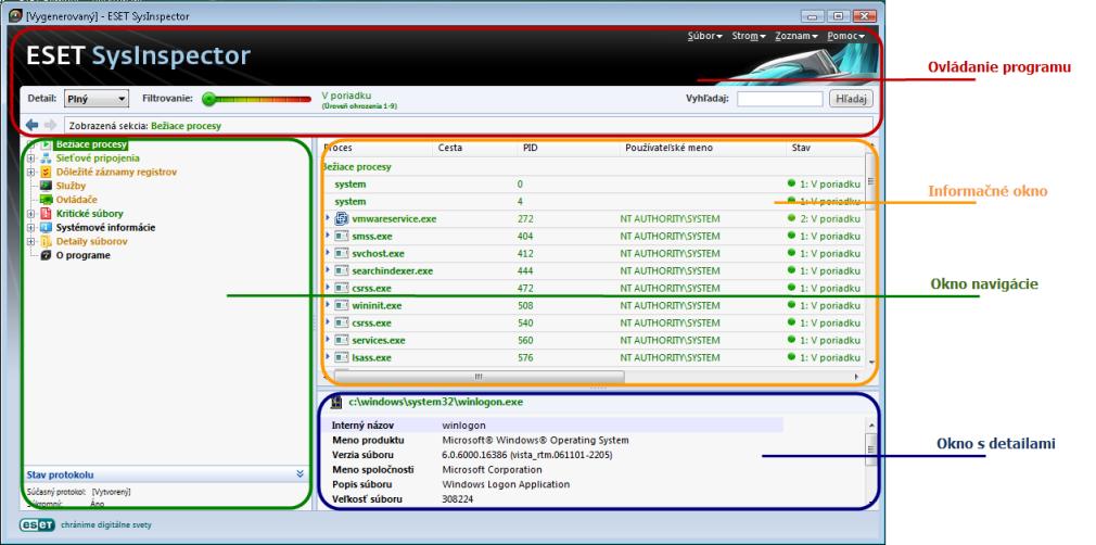 Nod32 sinsp usage Grafické rozhranie a ovládanie aplikácie