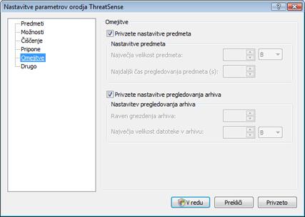 Nod32 config limit Omejitve