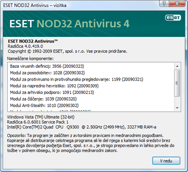 Nod32 ea about Protivirusni program ESET NOD32