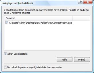 Nod32 ea charon confirm Pošiljanje sumljivih datotek