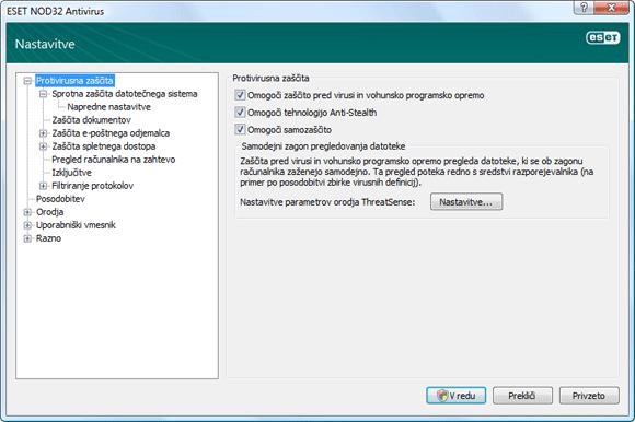 Nod32 ea config antivirus Nastavitve zaščite pred virusi in vohunsko programsko opremo