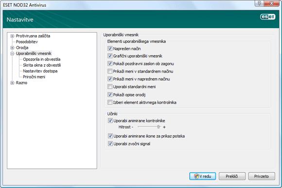 Nod32 ea config environment Uporabniški vmesnik