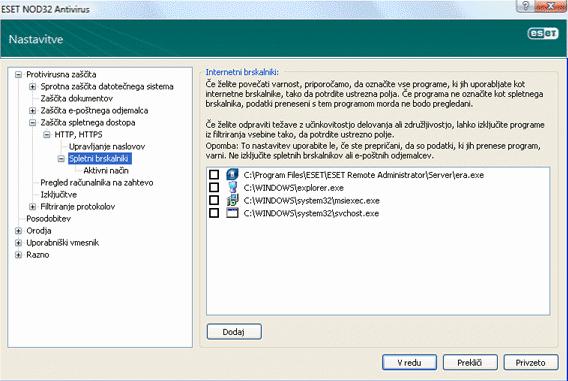 Nod32 ea config epfw browsers Internetni brskalniki