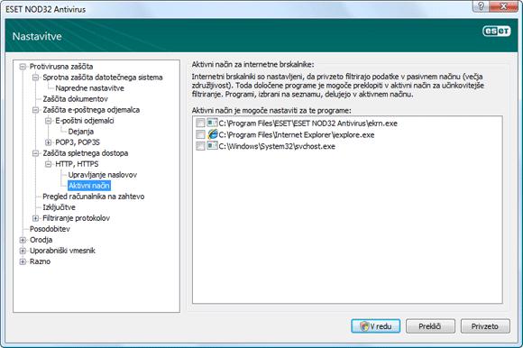 Nod32 ea config epfw browsers mode Aktivni način za internetne brskalnike