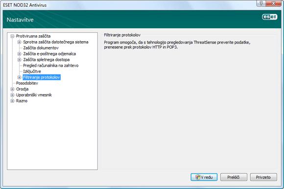 Nod32 ea config epfw scan main page Filtriranje protokolov