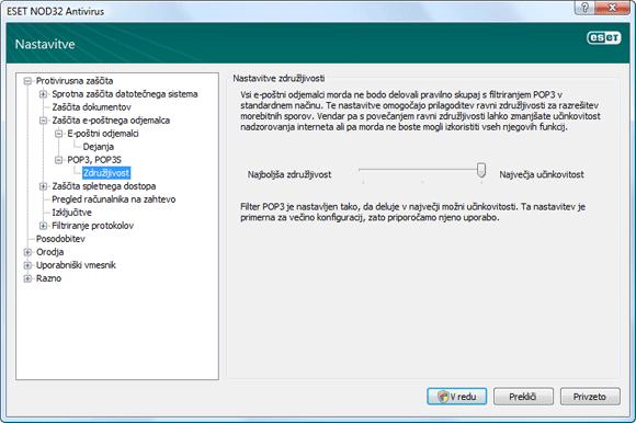 Nod32 ea config epfw scan pop3 comp Združljivost