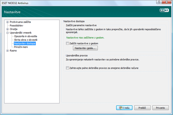 Nod32 ea config password Zaščita nastavitev