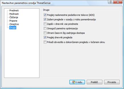 Nod32 ea config scanner scan Nastavitve pregleda