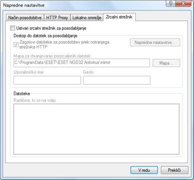 Nod32 ea config update mirror Ustvarjanje kopij posodobitev – zrcalni strežnik