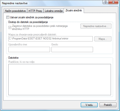 Nod32 ea config update mirror Zrcalni strežnik