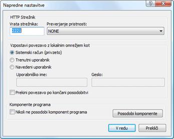 Nod32 ea config update mirror advance Napredne nastavitve