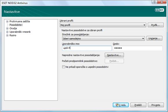 Nod32 ea config update source Nastavitve posodobitve