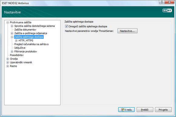 Nod32 ea config web Zaščita spletnega dostopa