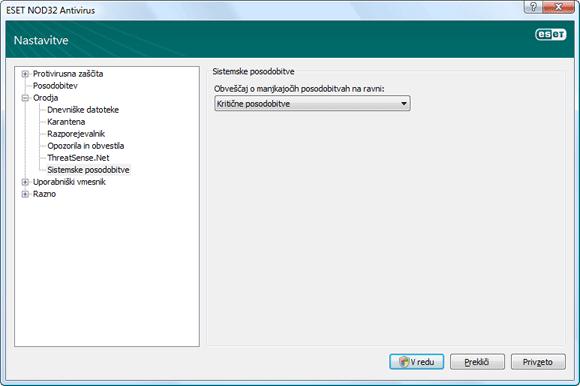 Nod32 ea config windows update Posodobitev operacijskega sistema — nastavitve