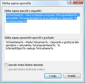 Nod32 ea format notice Oblika zapisa sporočila