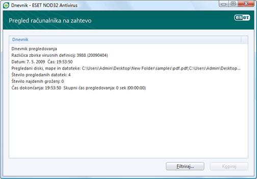 Nod32 ea log window Dnevniške datoteke – novo okno
