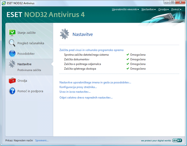Nod32 ea page advanced settings Nastavitve – napredni način