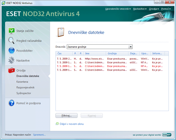 Nod32 ea page logs Dnevniške datoteke