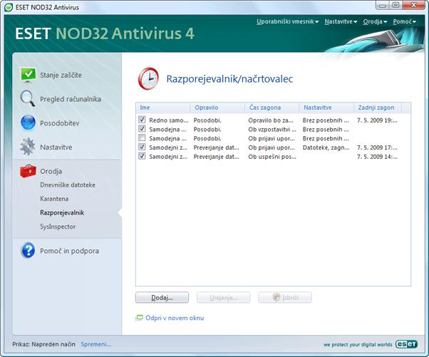 Nod32 ea page scheduler Razporejevalnik