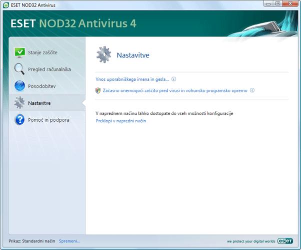 Nod32 ea page simple settings Nastavitve – standardni način