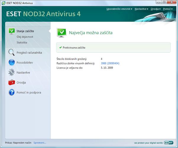 Nod32 ea page status Stanje zaščite