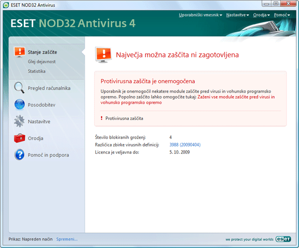 Nod32 ea page status 02 Kaj narediti, če program ne deluje pravilno