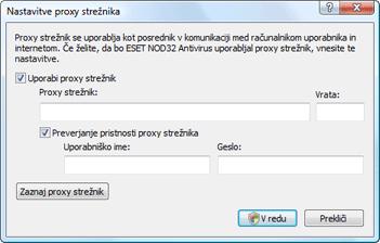 Nod32 ea proxy server Proxy strežnik – nastavitev