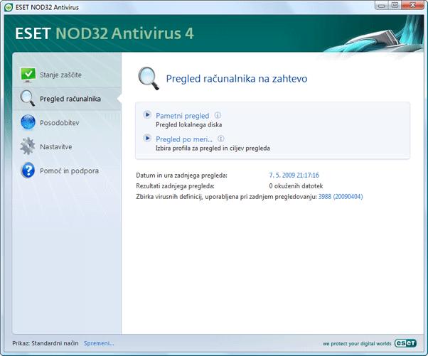Nod32 ea scanner main Pregled računalnika