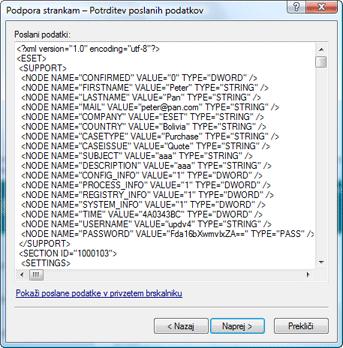 Nod32 ea support detect Potrditev poslanih podatkov